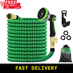 Water Hose Garden 100ft Expandable Heavy-duty Brass Connectors With Spray Nozzle