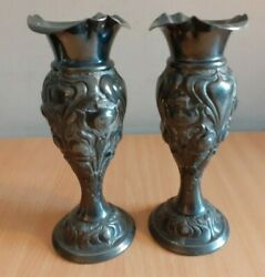 2 X Antique Atkins Brothers Silver Plated Ruffled Trumpet Stem / Bud Vases