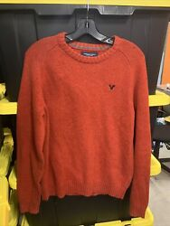 American Eagle Outfitters Pullover Sweater Classic Fit Orange V Neck Men's M
