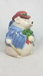 Vintage Ceramic Teapot By Fitz And Floyd 1987 Bacon And Eggs Pig In Bowler Hat