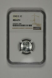 1943 S 1c Lincoln Steel Wheat Cent Ngc Ms 67+ Plus