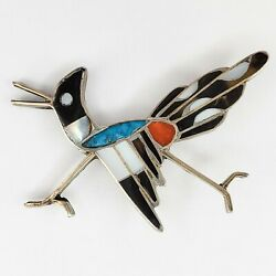 Vintage Native American Jewelry Zuni Inlay Roadrunner Brooch Pin Turquoise Coral