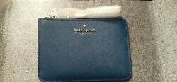 Kate Spade River Blue Laurel Way Bitsy Card Case Coin Purse Key Fob Pouch=nwt
