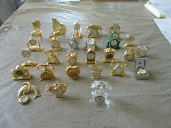 28 Small Brass Miniature Clocks Vintage Style Heavy For Fun And Collection