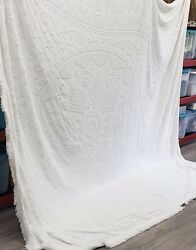 """Vintage 120 X 116"""" Chenille Bedspread Cream Ivory Mcm Cutter Cottage Core"""