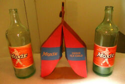 Ted Willaims 1950's Moxie Drinks  26 Ounce Bottles And Cardboard Carrying Case
