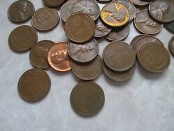 10 Rolls 1950's Lincoln Wheat Penny Mixed Dates And Mint Marks In Coin Tube