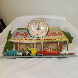 Vintage 1988 Coca Cola Family Drive In Sign Clock Burwood Products 2899-tested