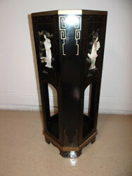 Oriental Chinese Black Lacquered Plant Stand Mother Of Pearl Geishas 14w X 36h