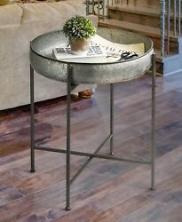 Galvanized Accent End Side Table Country Farmhouse Home Decor