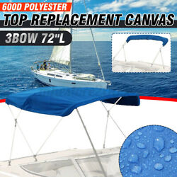 3 Bow Bimini Top Boat Replacement Canvas Cover Without Frame 600d Uv Resistant
