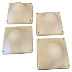 1970s Set Of Four Space Age Square Acrylic Bulle Wall Lights By Elio Martinelli