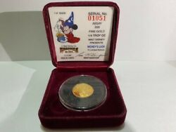 Walt Disney Fantasia Mickey Mouse Gold Coin 1987 Authentic K24 7.09g