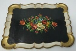 Vtg Italy 1960s Melamine Melmac Tray Black Tole Painted Floral Flowers Serving