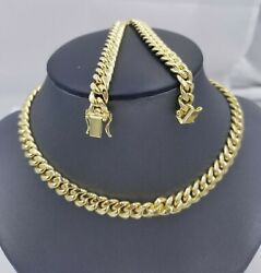 10k Yellow Gold Miami Cuban 8mm Chain Necklace Strong Box Lock 22 Men's