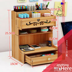 Multi Fountain Wooden Pen Holder Rack Pencil Case For Home School Office Gifts