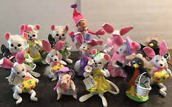 Rare Lot 14 Nwt Annalee Spring Pig Elf Robin Mouse Dog Puppy Bunny Easter Dolls