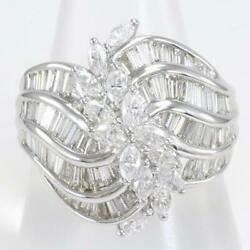 Jewelry Platinum 900 Ring 18 Size Diamond 1.00 About16.8g Free Shipping Used
