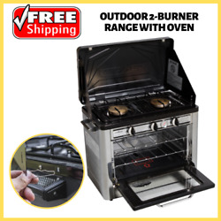 2-burner Propane Stove With Oven Portable Steel Outdoor Camping Patio Cooking