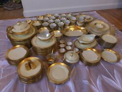 Selb Hutschenreuther And Rands 122 Pcs Rare Encrusted Raised Gold Border China Set