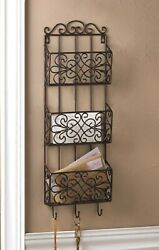 Vintage Style Hanging Iron Wall Rack With 3 Bins And Storage Hooks 29 Tall New