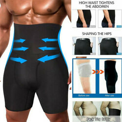 Men Compression High Waisted Boxer Shorts Tummy Control Body Shaper Girdle Pants