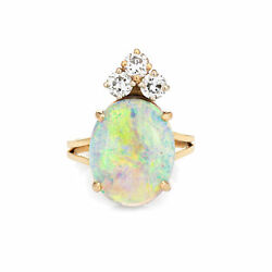 Natural Opal Diamond Ring Vintage 14k Yellow Gold Oval Crown Jewelry Sz 6