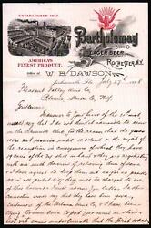 1898 Rochester Ny - Beer - Bartholomay Brew Co - W B Dawson - Letter Head Rare