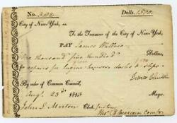 1813 Dewitt Clinton - Erie Canal - Governor Mayor Of New York City - Signed