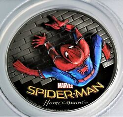 2017 Pr69 Deep Cameo Spiderman 1st Day Of Issue 1 Oz .999 Silver Coin- Marvel