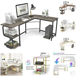 Reversible L Shaped Desk With Shelves Computer Desk Gaming Table For Home Office