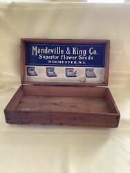 Mandeville And King Co Flower Seed Vintage Wood Display Box Rochester, Ny