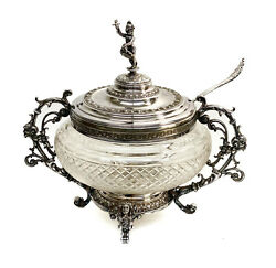 Wmf Silverplate And Cut Glass Footed Punch Bowl And Ladle Foliate Scrolls