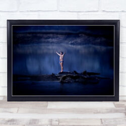 Charge Charging River Bulgaria Man In Underwear Arms Out Wide Wall Art Print