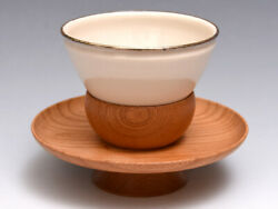 Hakutenme Tea Bowl With Wooden Table Seto Ware Utensils Ceramic Wood Crafts