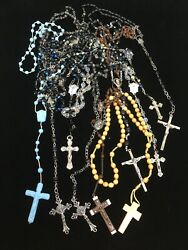 Lot Of 10 Vintage Rosaries Crystal Wood With Sterling Medal Made In Italy Etc