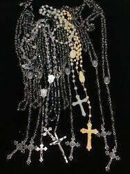 Lot Of 10 Vintage Rosaries Crystal Plastic Made In Italy The Estate Of A Priest