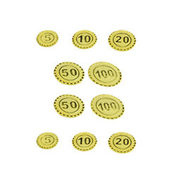 100pc Plastic Gold Coins Currency Toy Game Props For Kids