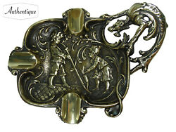 Ashtray Couple Smoking Pipe With Wolf Handle Ornament Deco Style Antique Bronze