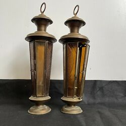 Antique Pair Of Brass Coloured Glass Candle Lanterns Decorative Glass H35 X W10