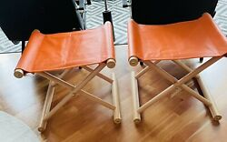 Serena And Lily Camp Stools In Moore And Giles Orange Leather. Pair
