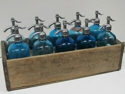 Rare And Vintage Seltzer Soda Bottle Wood Carrying Crate, 10 Blue Glass Bottles