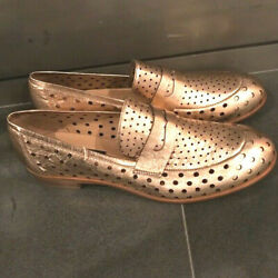 Janet And Janet Rose Gold Metallic Leather Loafers. Nib. Size Eu 41 🇮🇹❤️