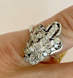 Vintage 14k White Gold And 1.65ct Diamond Womanandrsquos Unique Cluster Cocktail Ring