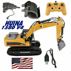 Huina 1580 V4 114 2.4ghz 23 Ch Rc Car Alloy Excavator Boy Kids Adults Toy Truck
