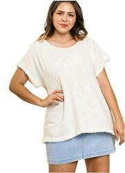 Umgee Women's Pintuck High Low Fringed Top, Off White, Size X-large 2ofz