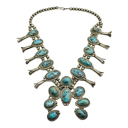 Navajo Vintage Silver And Turquoise Southwest Gradated Squash Blossom Necklace