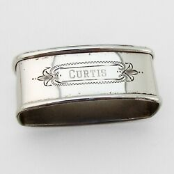 Oval Napkin Ring Webster Sterling Silver Mono Curtis