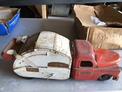 Structo Toys Pressed Steel City Of Toyland No. 7 Utility Truck Red And White