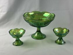 Carnival Glass Green Harvest Grape Iridescent Pedestal Bowl And 2 Candle Holders.